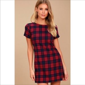 Lulu's Plaid Cozy Corner Mini Dress